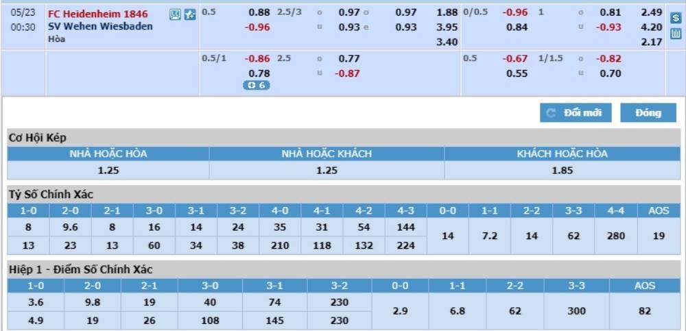Soi kèo Heidenheim 1846 vs Wehen Wiesbaden – Hạng 2 Đức - 22/05/2020 - Euro888