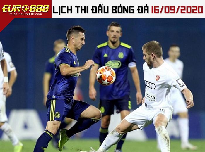 Lịch thi đấu bóng đá 16-9-2020