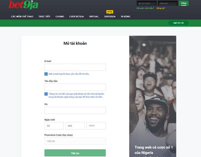 Đăng ký tài khoản Bet9ja