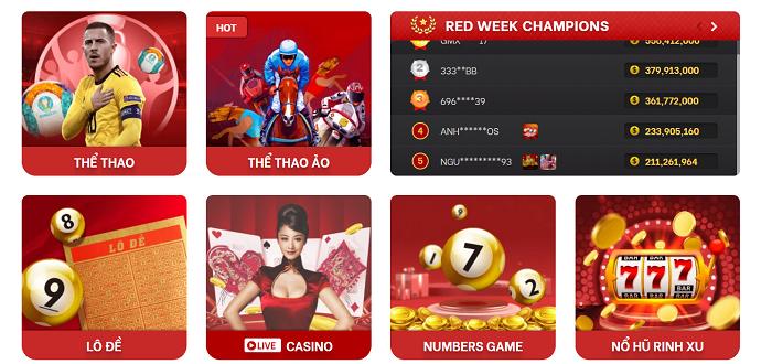Trò chơi đầy sắc màu tại Red88