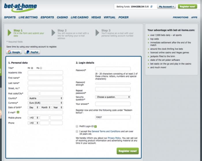 Đăng ký tài khoản Bet-at-home